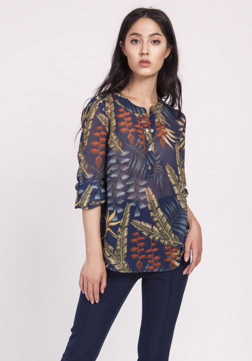 Elegant chiffon blouse, BLU142 leaves navy blue