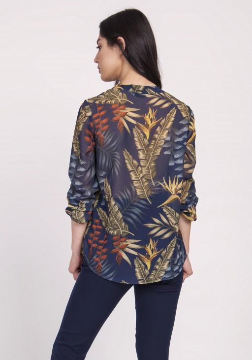 Elegancka szyfonowa bluzka, BLU142 liście granat
