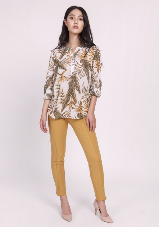 Elegant chiffon blouse, BLU142 leaves ecru