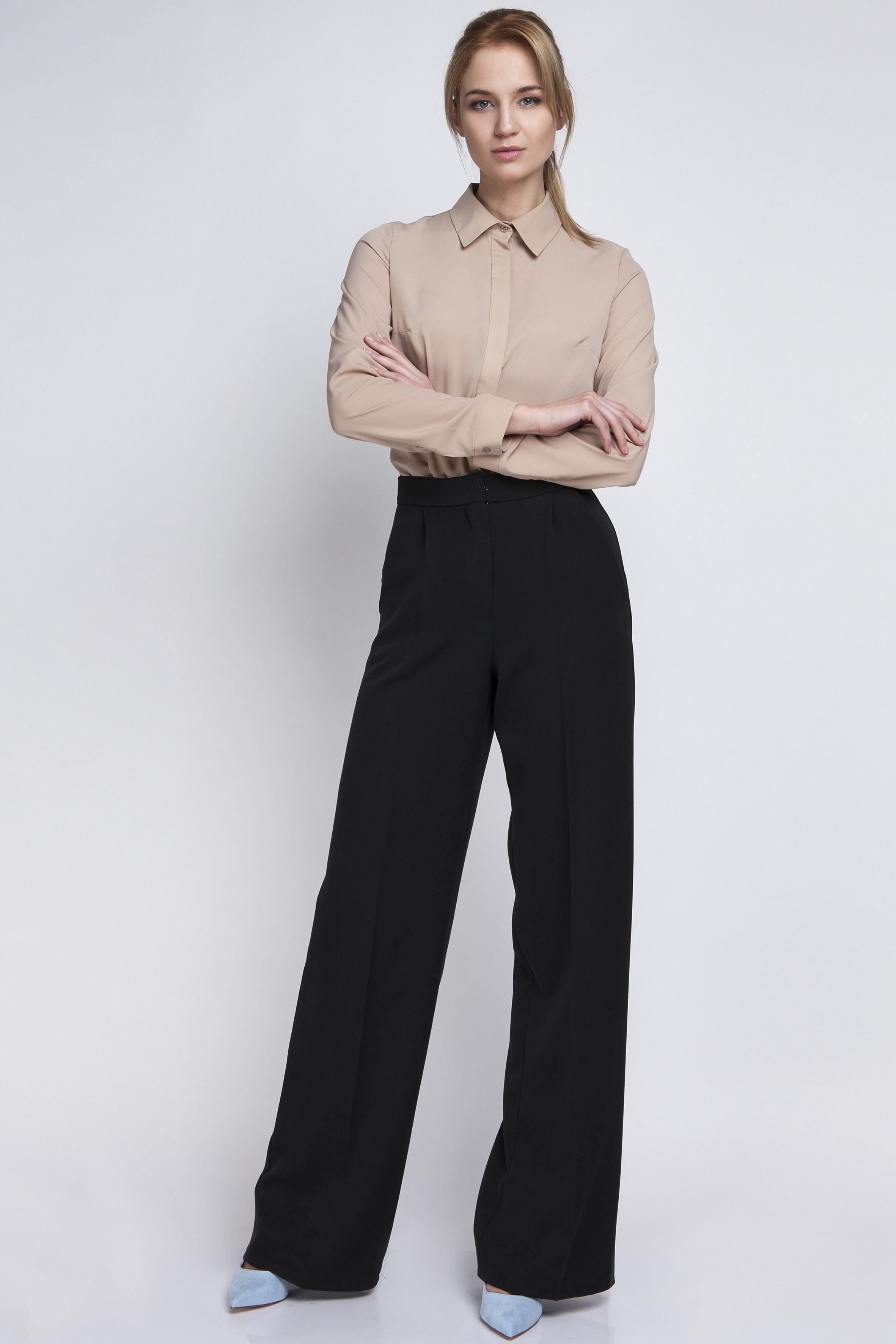 281538c2f0f18f Klasyczne spodnie z wysokim stanem, SD111 czarny. Spodnie, SD111 czarny.  Loading zoom