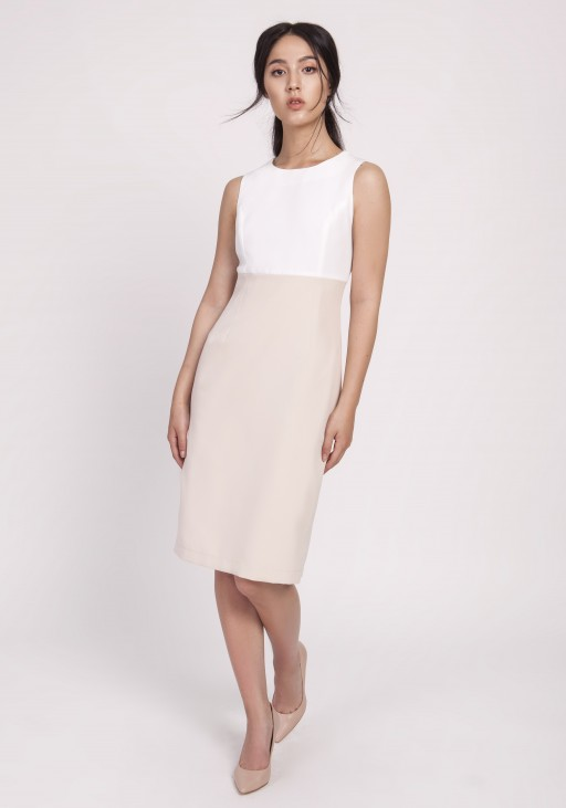 Feminine dress in a classic cut, SUK170 beige