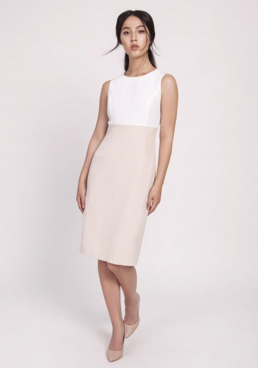 Kobieca sukienka o klasycznym kroju, SUK170 beż