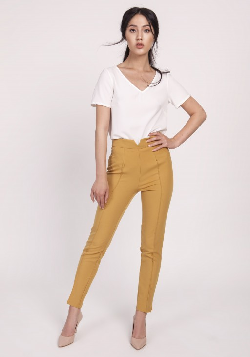 Trousers with  high-waisted, SD112 mustard