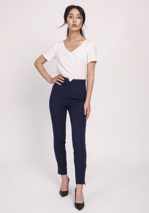 Trousers with high-waisted, SD112 navy
