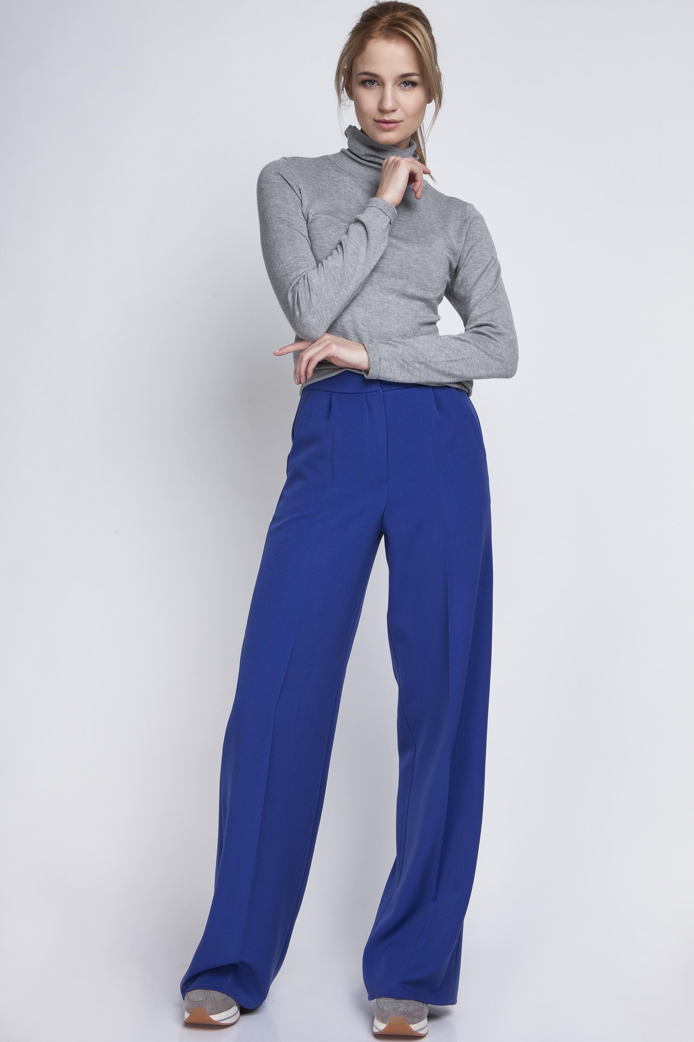 34560f2dff3542 Szerokie spodnie z wysokim stanem, SD111 indygo - Lanti