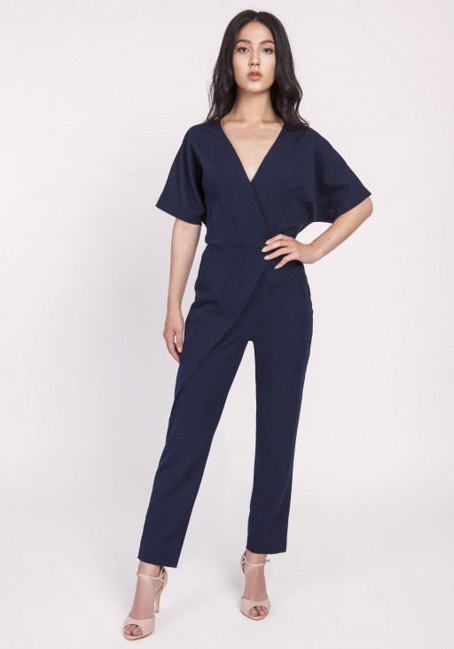 Women's overalls with decorative pleats at the front, KB115 navy