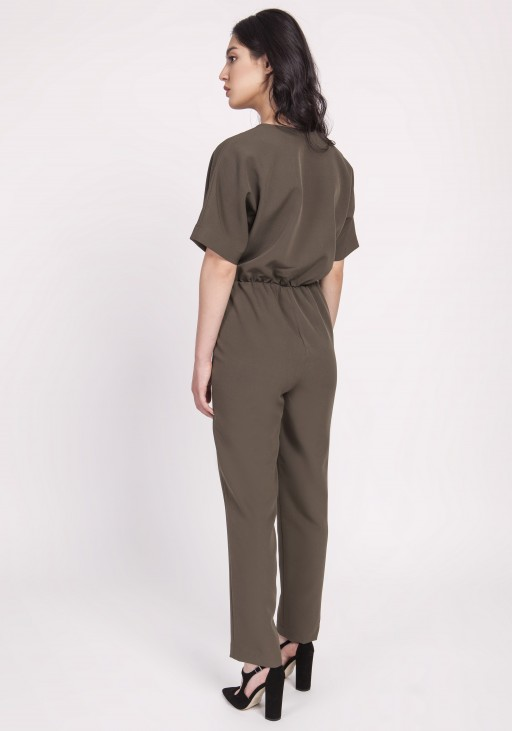 Women's overalls with decorative pleats at the front, KB115 khaki
