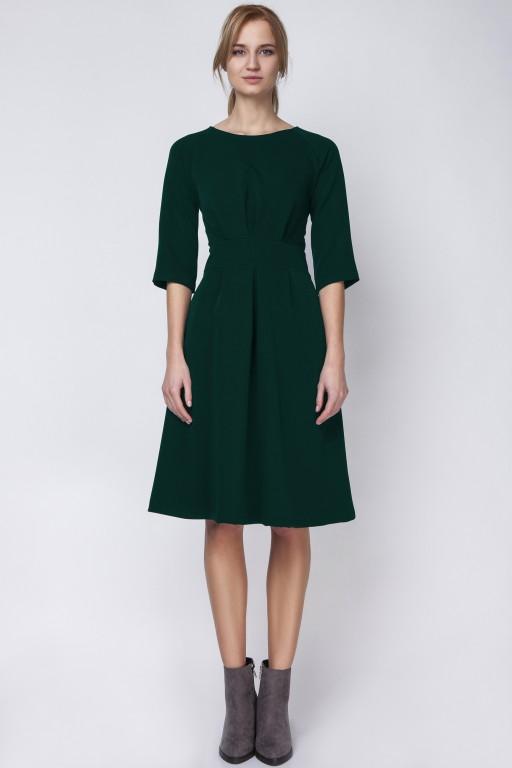 Sukienka z rozkloszowanym dołem, SUK122, zieleń butelkowa