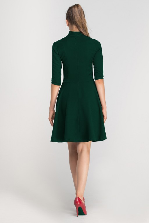 Flared dress with a neckline, SUK147 green