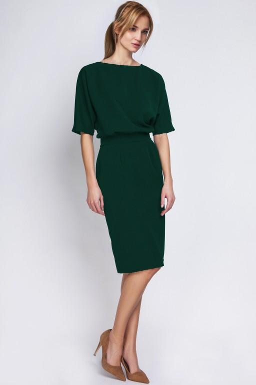 Sukienka dopasowana dołem, SUK123 zielona