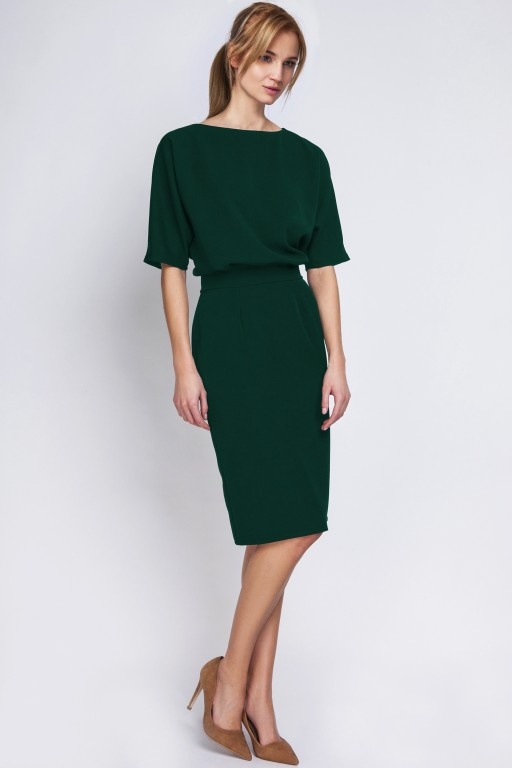 Sukienka dopasowana dołem, SUK123 butelkowa zieleń