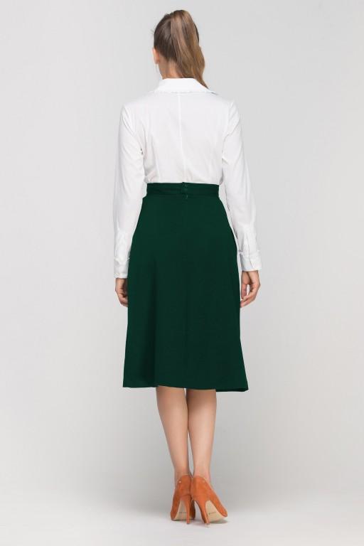 Rozkloszowana spódnica za kolano, SP118 zielona