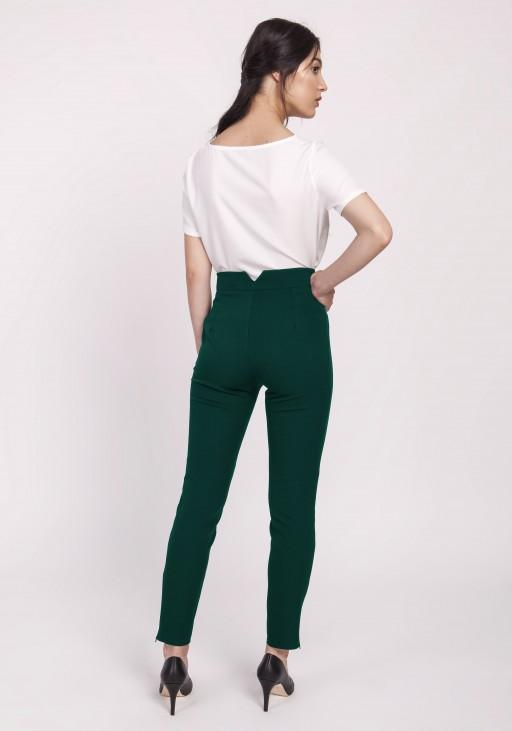 Spodnie z wysokim stanem, SD112 zielone