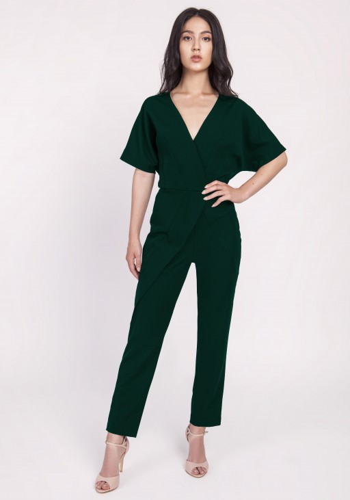 Women's suit with decorative pleats, KB115 green