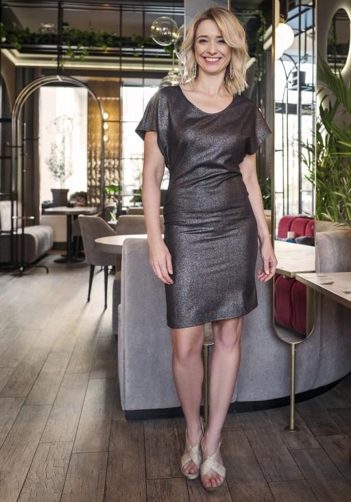Sukienka dopasowana, SUK101 czarny z połyskiem