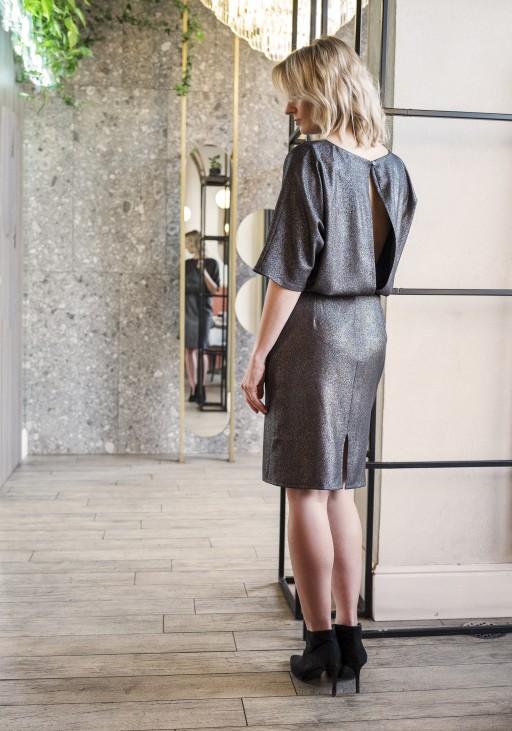 Sukienka dopasowana dołem, SUK123 czarny z połyskiem