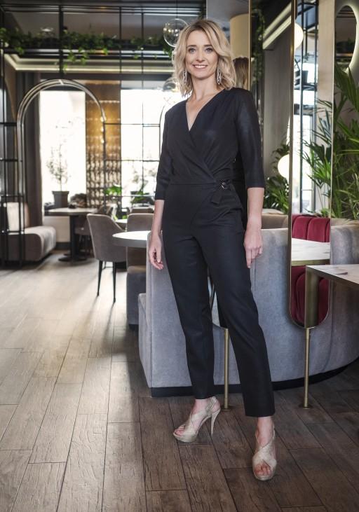 Elegant jumpsuit, KB108 BLACK GLOSSY