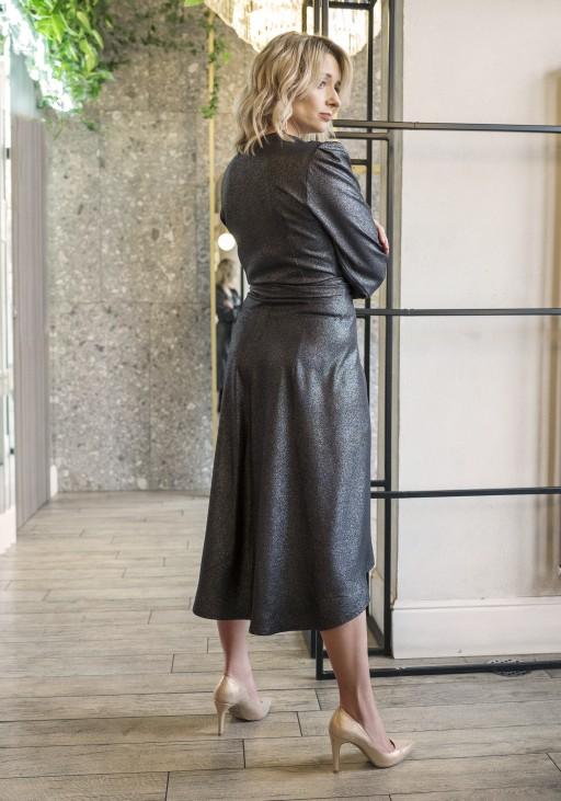 Asymetryczna, kopertowa sukienka, SUK160 czarny z połyskiem