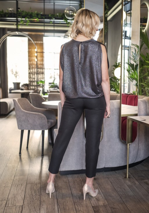 Blouse with bare shoulders, BLU102 black glossy