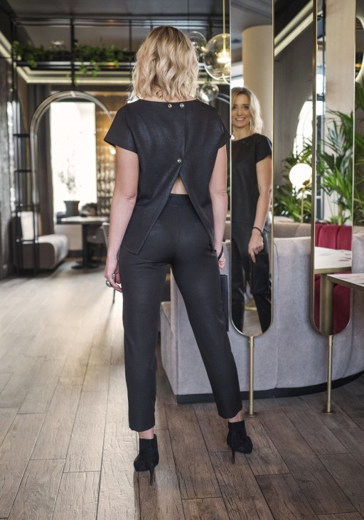 Blouse with the original back, BLU123 black glossy