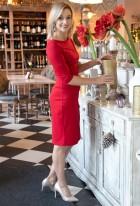 Sukienka dopasowana z przeszyciami, SUK146 czerwony