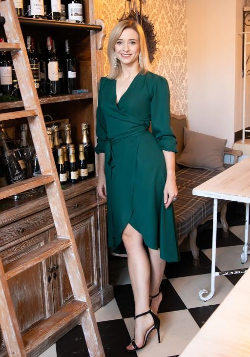 Asymetryczna, kopertowa sukienka, SUK160 zieleń butelkowa