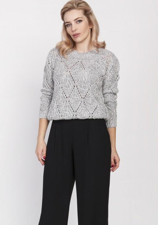 Ażurowy sweter, SWE123 szary