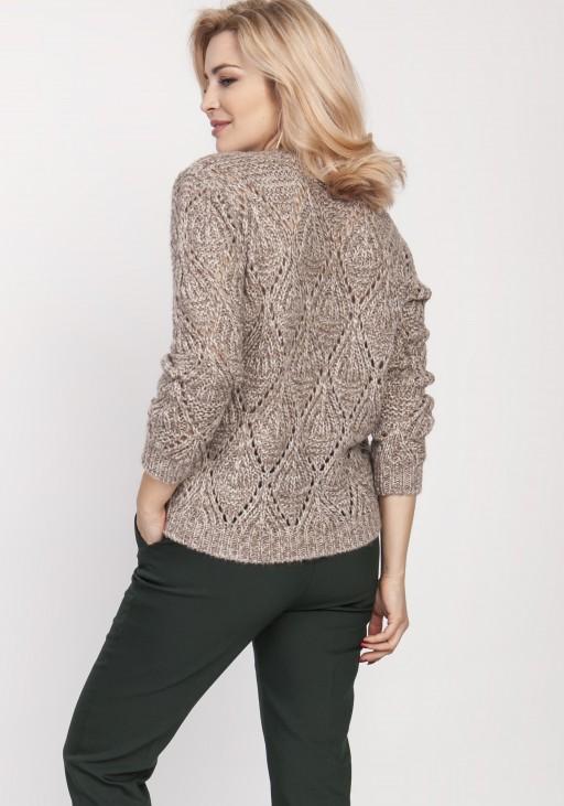 Ażurowy sweter, SWE123 mocca