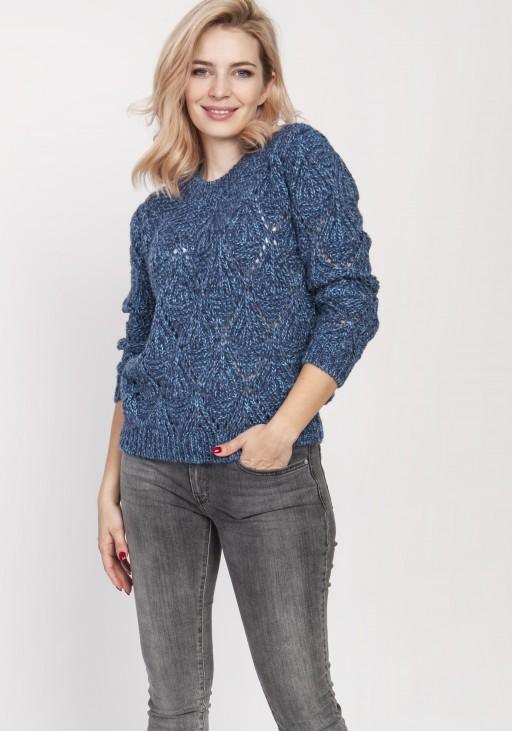 Ażurowy sweter, SWE123 jeans