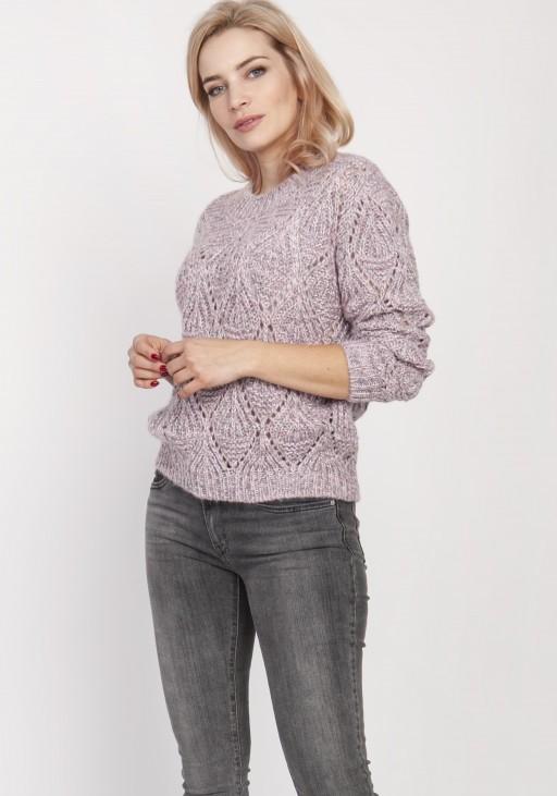 Ażurowy sweter, SWE123 róż