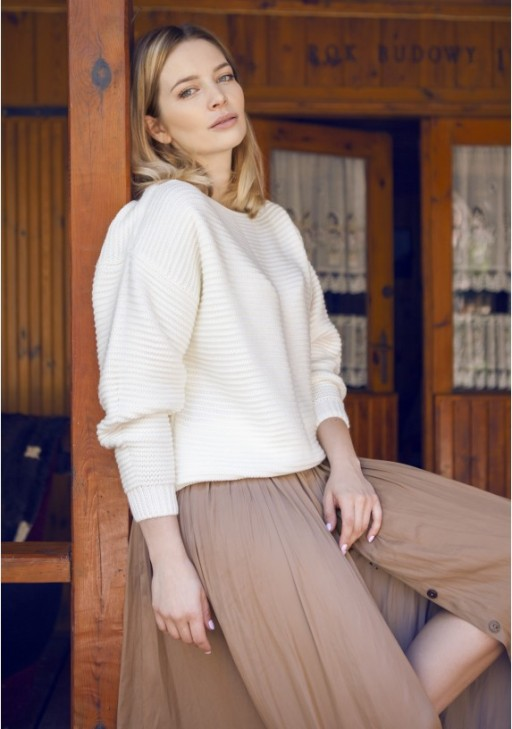 Oversized sweater with a texture, SWE125 ecru