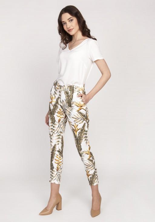 Spodnie cygaretki, SD119 liście ecru