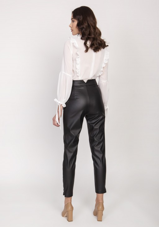 Spodnie z wysokim stanem, SD120 skóra