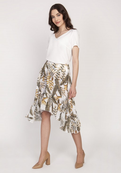 Flared skirt with a frill, SP124 leaves ecru