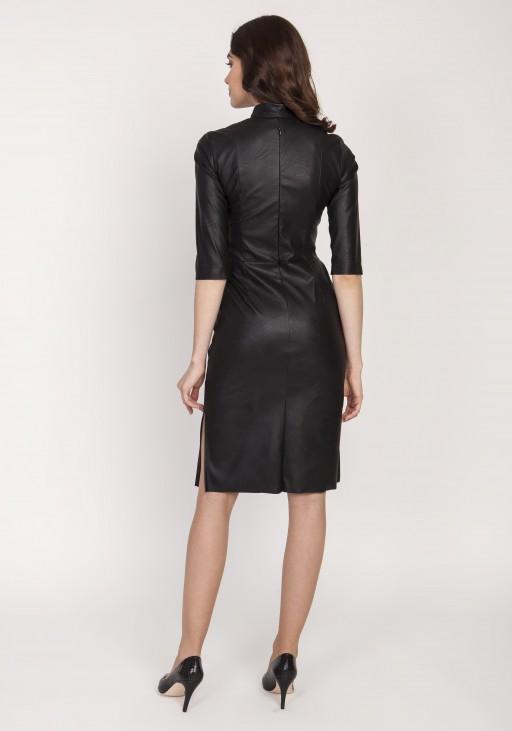 Skórzana sukienka, SUK178 czarny
