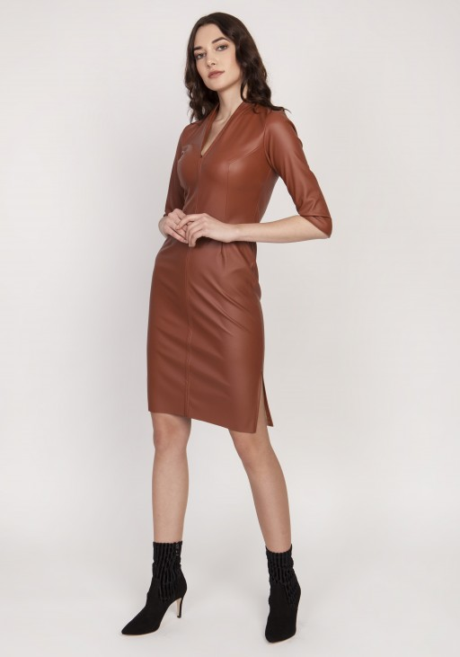 Leather dress, SUK178 brown
