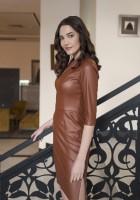 Skórzana sukienka, SUK178 brąz