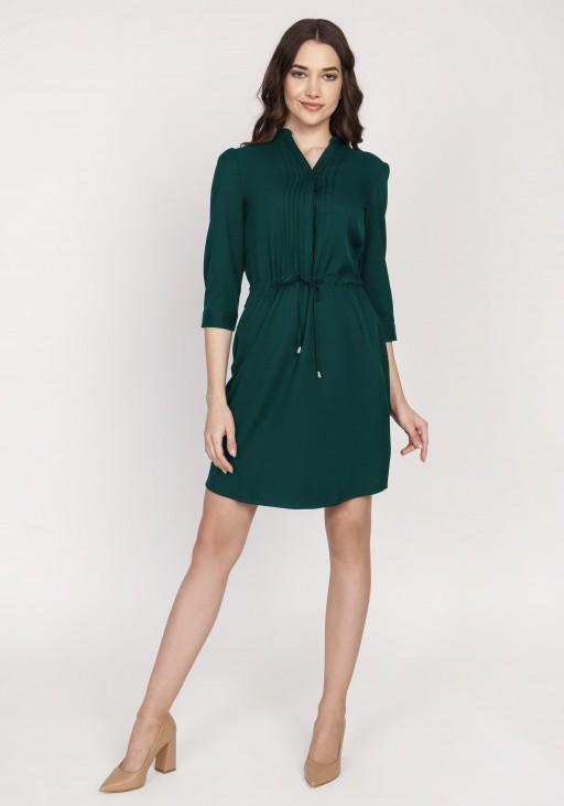 Sukienka ze szczypankami, SUK149, butelkowa zieleń