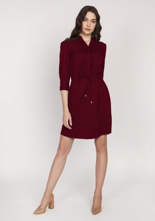 Sukienka ze szczypankami, SUK149 bordo