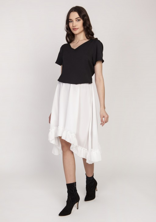 Flared skirt with a frill, SP125 ecru