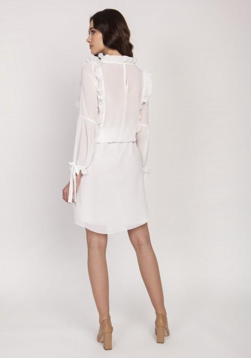 Elegant dress with decorative frills, SUK176 ecru