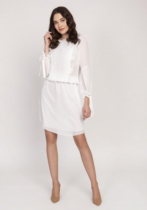 Elegancka sukienka z ozdobnymi falbankami, SUK176 ecru