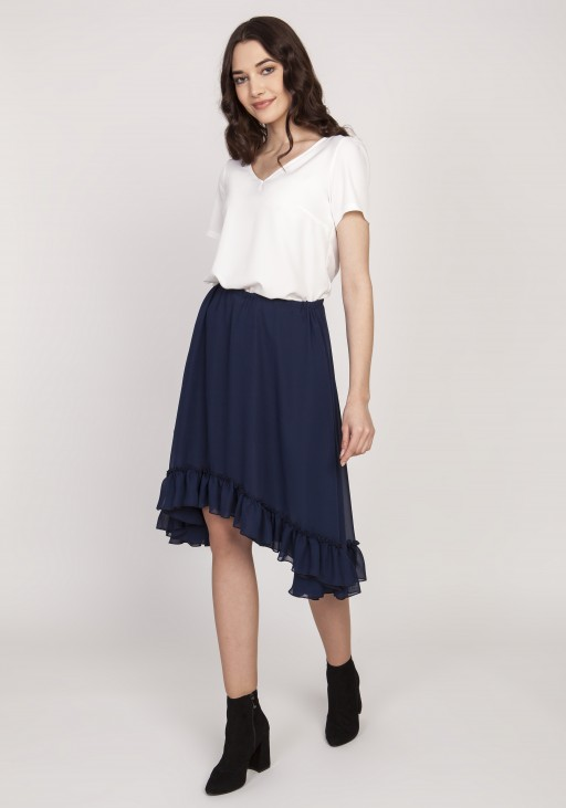 Flared skirt with a frill, SP124 navy