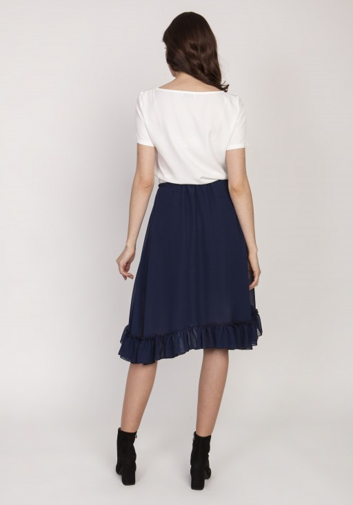 Flared skirt with a frill, SP125 navy