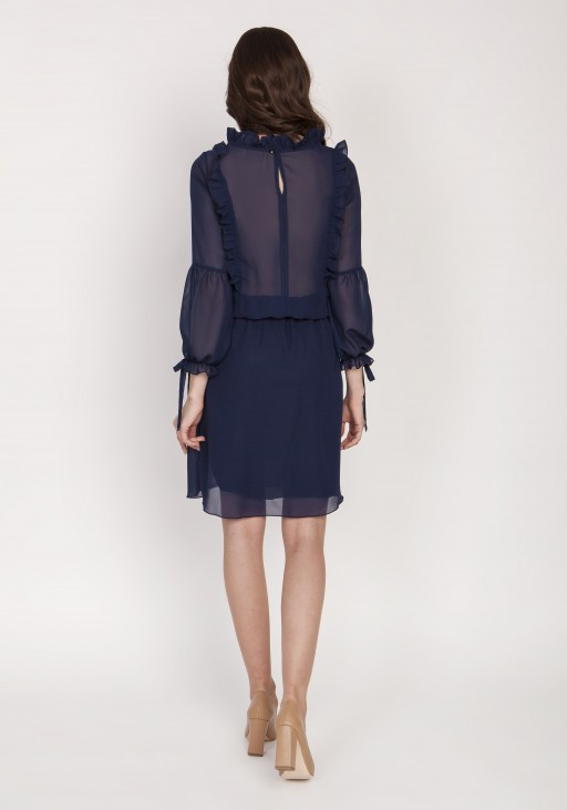Elegant dress with decorative frills, SUK176 navy