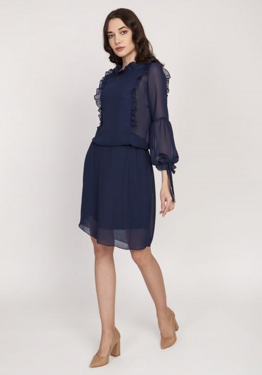 Elegancka sukienka z ozdobnymi falbankami, SUK176 granat
