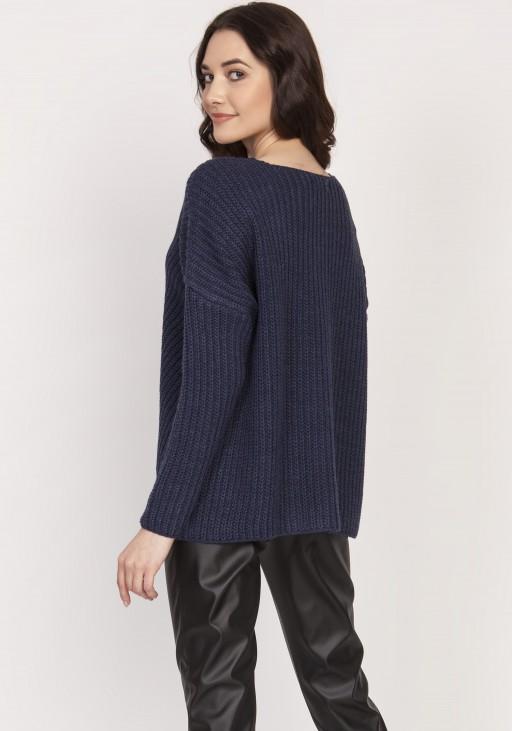 Oversize'owy sweter o asymetrycznym kroju, SWE124 granat