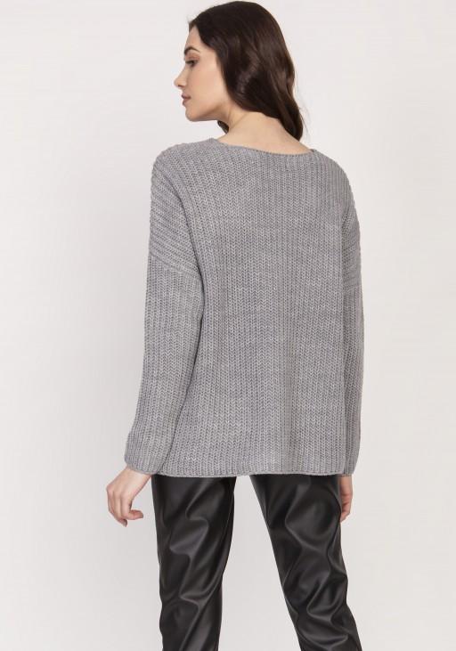 Oversize'owy sweter o asymetrycznym kroju, SWE124 szary