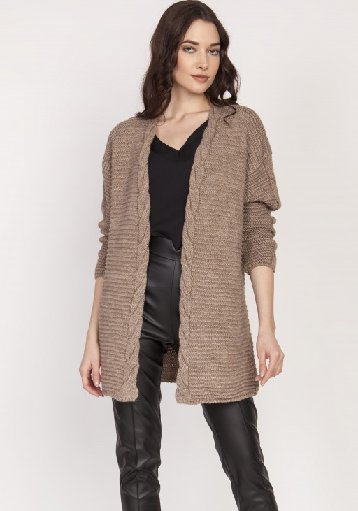 Warm sweater - cardigan, SWE127 mocca