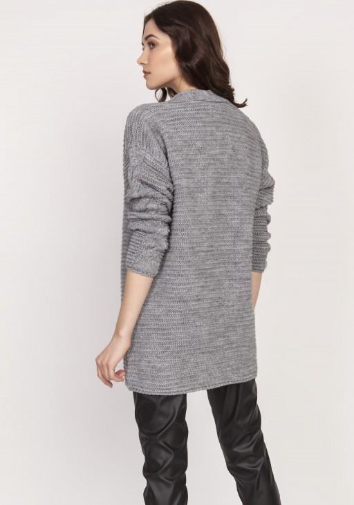 Warm sweater - cardigan, SWE127 grey